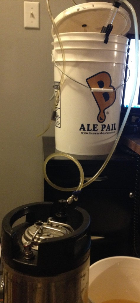 Racking directly into ball lock on keg.