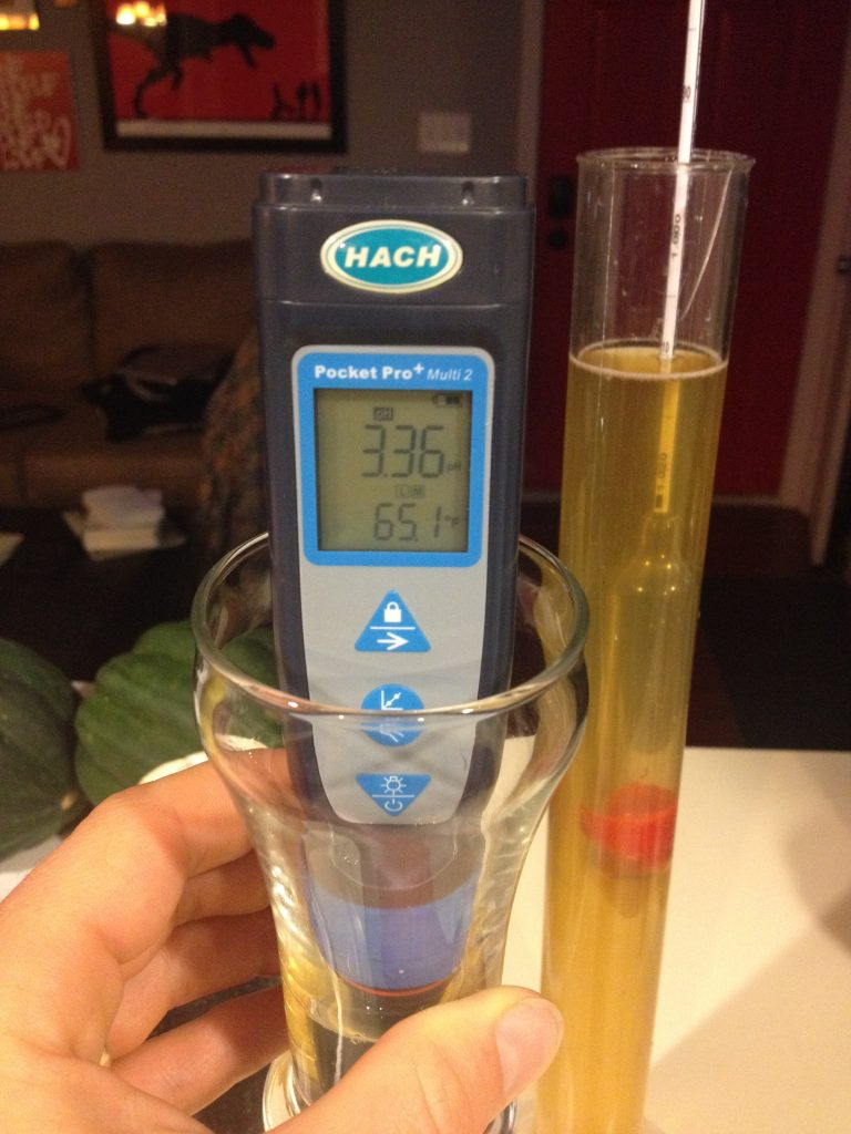 150 Day tart saison pH and FG