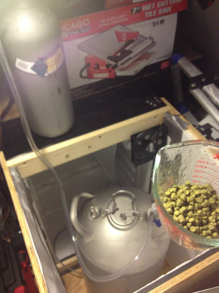 Getting ready to dry hop while continually purging headspace with C02